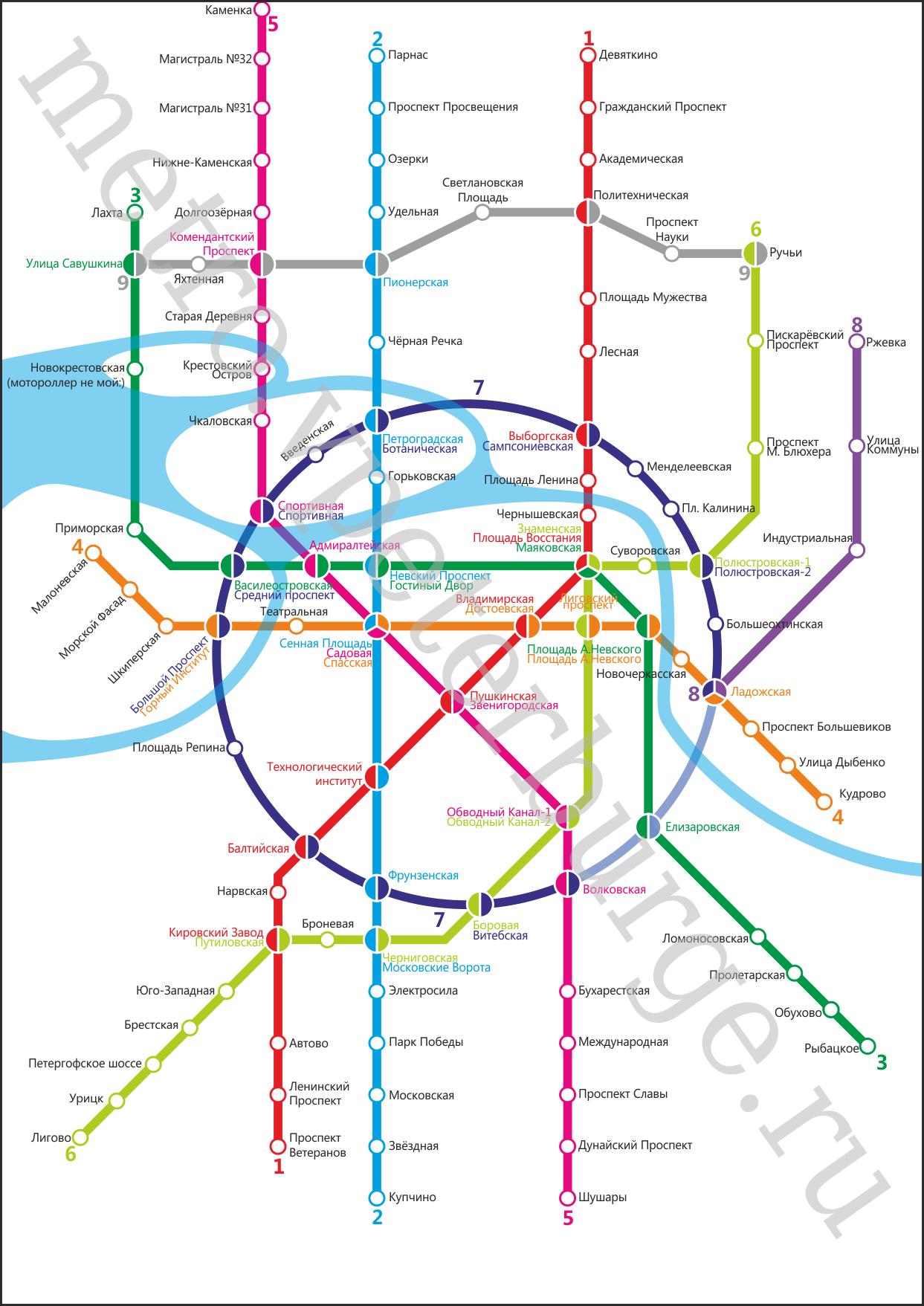 Схема метро спб в будущем