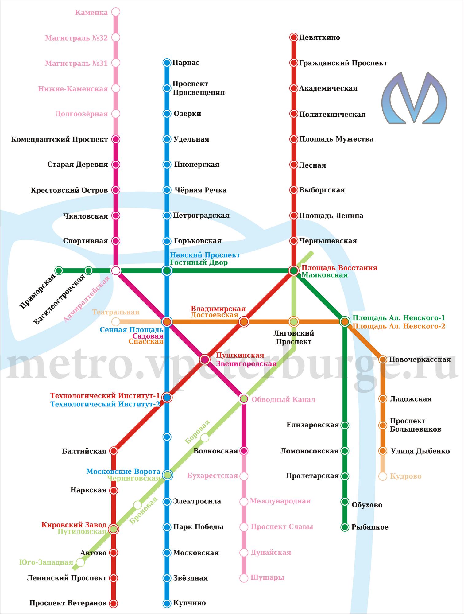 Новая схема метро спб волковская